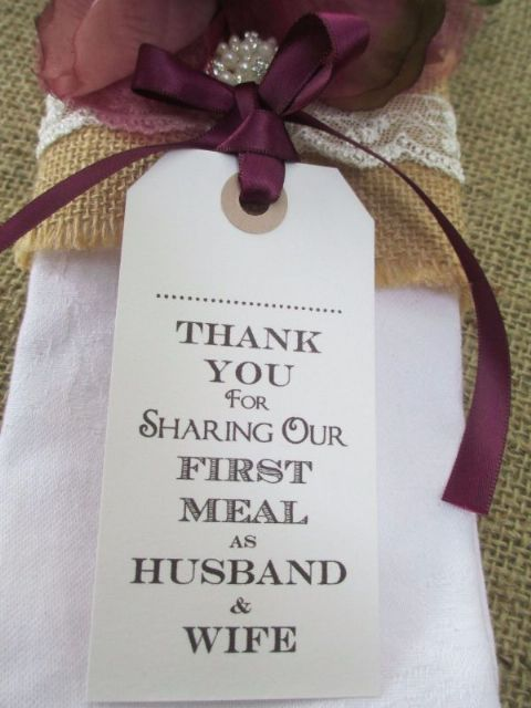 10 Husband & Wife Thank You for Sharing Name Place Cards Luggage Tags Napkin Ties